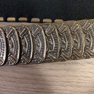 Unique metal belt with intricate buckle, one size